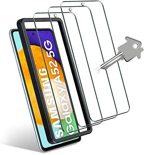 Wonantorna 3 Stück Panzerglas Kompatibel mit Samsung Galaxy A52 4G / 5G, [Fingerabdruck-ID unterstützen] Schutzfolie 9H Härte, Ultra-HD Anti-Kratzer Blasenfrei Folie für Samsung Galaxy A52-6,5
