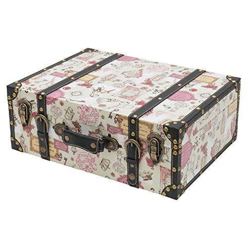 HMF VKO105 Vintage Koffer aus Holz | 44 x 32 x 16 cm | Groß | Deko Barock