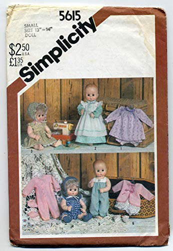 """WARDROBE FOR BABY DOLLS IN THREE SIZES - SMALL 13-14"""" - SUCH AS TINY TEARS, MEDIUM (15-16"""" AND LARGE (17-18"""" SUCH AS DYDEE BABY) SIMPLICITY CRAFT SEWING PATTERN #5615"""