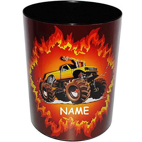 alles-meine.de GmbH Papierkorb / Behälter -  Monstertruck - Fahrzeug / Auto Truck  - incl. Name - aus Kunststoff - Mülleimer / Eimer - Aufbewahrungsbox für Kinder / Büro - Mädc..