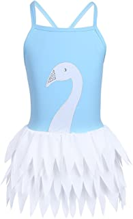 MSemis Girls' One Piece Swan Bathing Suit Kids Lovely Ballet Style Ruffle Skirted Swimsuit Swimwear