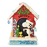 Enesco Peanuts by Jim Shore Snoopy by Dog House Lit Figurine, 7 Inch, Multicolor