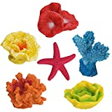 Aytop Coral sintético, realista artificial para acuario, plantas de corales, ornamentos de resina colorida, coral marino artificial para acuario o pecera, decoración paisajística, paquete de 6