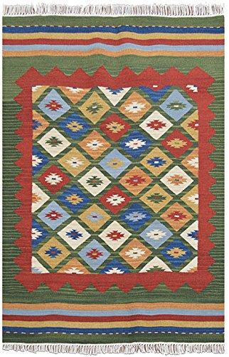 Bakero Teppich Kilim Classic K-14, Wolle, Grün, 230 x 170 x 0,80 cm