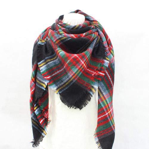 B/H Mantas Cozy Bufanda Suave Caliente Moda,Bufanda Cuadrada a Cuadros de Doble Cara para otoño e Invierno,Bufanda para Mujer chal-17,Ideal Moda cálido mantón Invierno