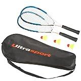 Ultrasport Set Fastball Turbo-Badminton, Set Badminton con 2 Racchette e 3 volani, Set Speedbadminton con Borsa da Trasporto, Ideale per Allenarsi nelle Pause, Blu