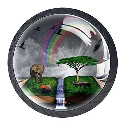 Manopole per armadietti,maniglie percassetti,libro uccello elefante animale nuvola arcobaleno 4 maniglie per cassettiere per porte,comò Cristallo nero il giro