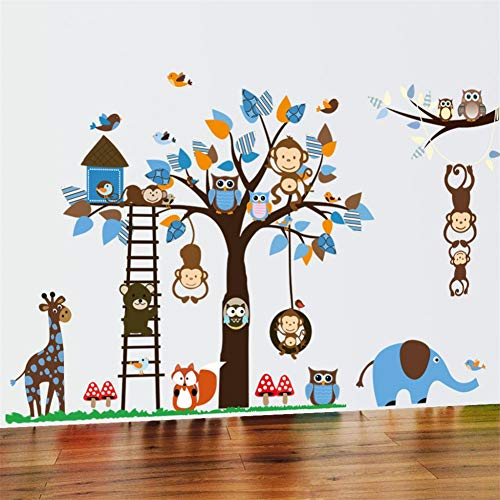 TAOYUE muursticker voor kinderen cartoon uil aap boom eekhoorns wanddecoratie behang sticker baby slaapkamer kinderkamer muursticker