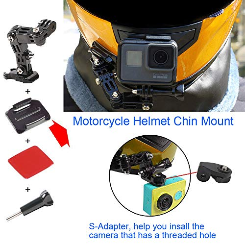Helmet Chin Mount Helmet Mount Kit for GoPro Hero 5 6 Xiaomi Yi Action Camera, Helmet Front and Side Swivel Mount and Flat Curved Adhesive Mounts with Sticky Pads