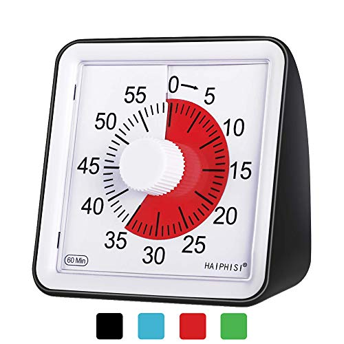 60 Minute Visual Analog Timer–Classroom Countdown timer for Kids and Adults,Time Management Tool for Teaching Cooking Homework Meeting Games,No Loud Ticking(Black)