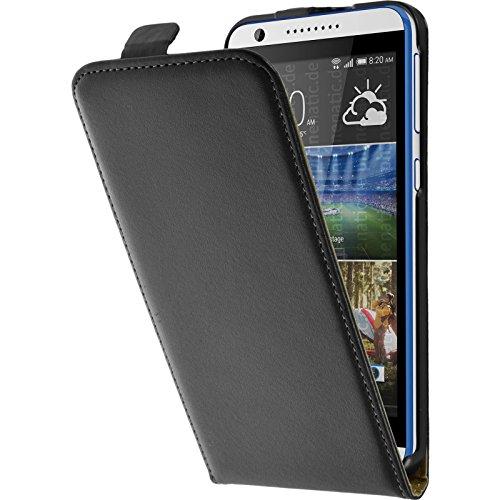 PhoneNatic Kunst-Lederhülle kompatibel mit HTC Desire 820 - Flip-Hülle schwarz + 2 Schutzfolien
