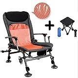 Gymqian Sillas de pesca con brazos plegables Silla reclinable multifuncional para dormir al aire libre Rodamiento de aleación de aluminio ultraligero con pequeño taburete plegable p