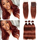 #33 Dark Auburn Straight Bundles with Closure Copper Red Brazilian Human Hair 3 Bundles with Top Closure 4Pcs Lot Reddish Brown Straight Weave Wefts with 4x4 Lace Closure (18 20 22 with 16)