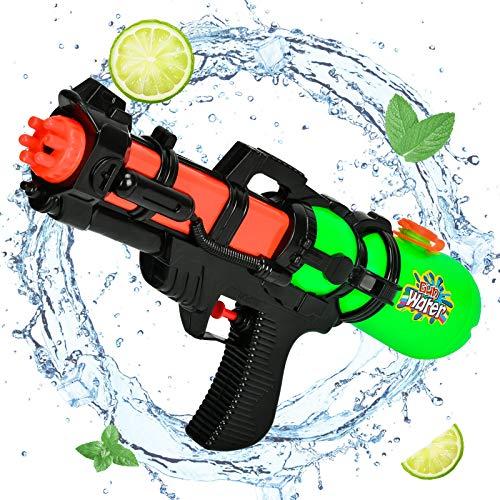 KATELUO Pistola ad acqua, pistola ad acqua per bambini, Pistola ad acqua a lungo raggio, pistola ad acqua giocattolo da 450 ml, adatta per bambini e adulti da utilizzare nella ad acqua (Verde)