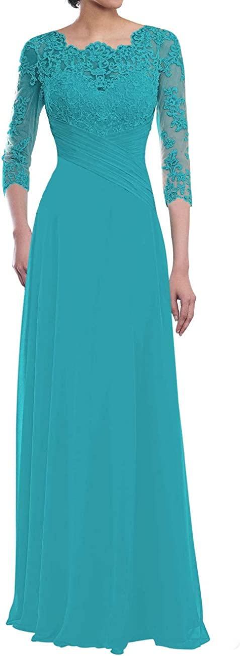 Mother of The Bride Dresses Long Sleeve Lace Formal Evening Gowns Chiffon Mothers Dress for Wedding