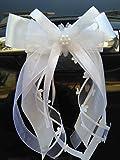 Miya@ 10 hochwertige Handgemacht Weiss Antenneschleifen mit Herzschleifen aus Satin, Auto Schleifen, Hochzeit Deko, Autoschmuck (3 cm Weiss)