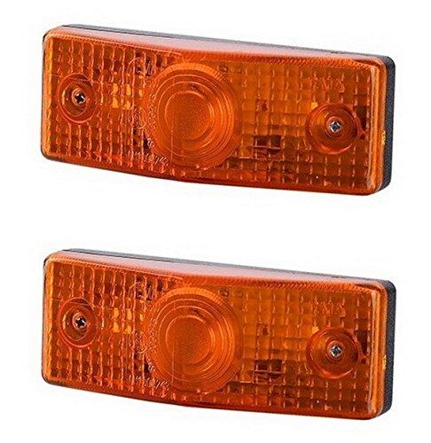 2 x Orange Begrenzungsleuchte Seitenleuchte 12V 24V mit E-Prüfzeichen Positionsleuchte Flache Auto LKW PKW KFZ Lampe Leuchte Licht Paar Gelb Birne