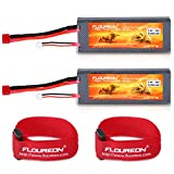 FLOUREON 2S Lipo Battery 7.4V 30C 5200mAh Rechargeable RC Battery Hard Case with T Plug for 1/8 and 1/10 rc car, Losi, Traxxas Slash, Team Associated, Axial,Tamiya Duratrax,Redcat Racing Truck 2 packs
