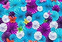 Assanu 人工紙の花7×5FTビニール背景紫と青の色手作りの花写真の背景誕生日ベビーシャワーの背景パーティーの装飾ビデオフォトスタジオプロップ