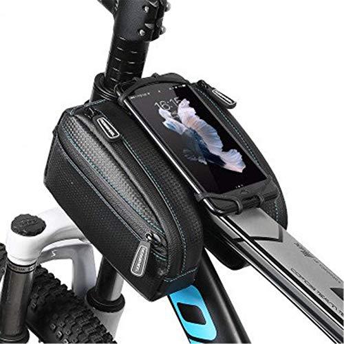 Lzcaure Bolsa de marco de bicicleta impermeable bicicleta tubo frontal doble bolsa bolsas con 4.7-6.0 pulgadas teléfono caso para al aire libre MTB Road Mountain Bike