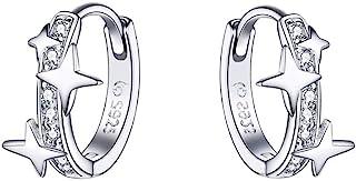 Star Cubic Zirconia Huggie Hoop Earrings for Women Teen Girls Sterling Silver Constellation Cartilage Cute Charms CZ Sleep...