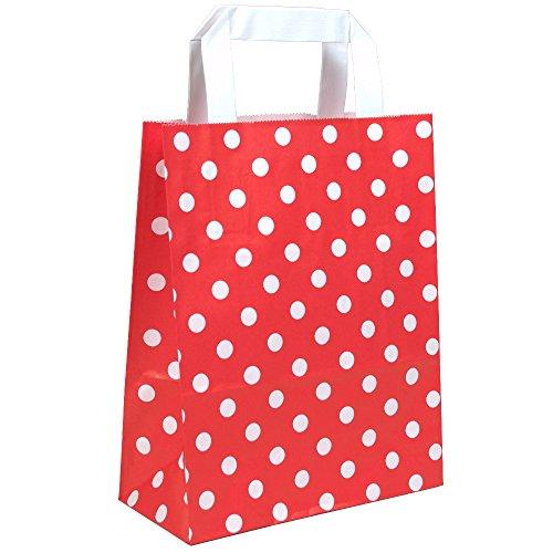 500 Papiertragetaschen in Grösse 18 + 08 x 22 cm aus Kraftpapier und flachen Griffen Farbe Rot Motiv Punkte
