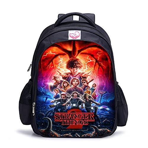 Stranger Things Sac à dos d'école, sac à déjeuner pour étudiant, sac à bandoulière imprimé 3D Stranger Things, 3-4, L,