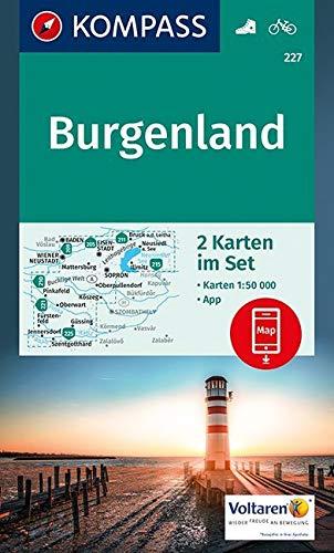 KOMPASS Wanderkarte Burgenland: 2 Wanderkarten 1:50000 im Set inklusive Karte zur offline Verwendung in der KOMPASS-App. Fahrradfahren. (KOMPASS-Wanderkarten, Band 227)