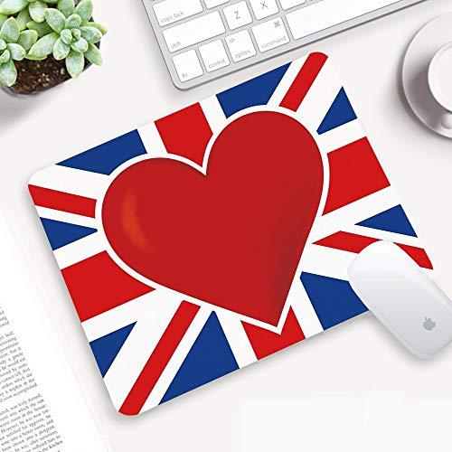 Alfombrilla Ratón 320x250 mm,Union Jack, bandera británica con un gran corazón rojo en el centro Nati,Antideslizante e Alfombrilla goma Impermeable Ideal para Portátil, Teclado, Gaming Hogar y Oficina