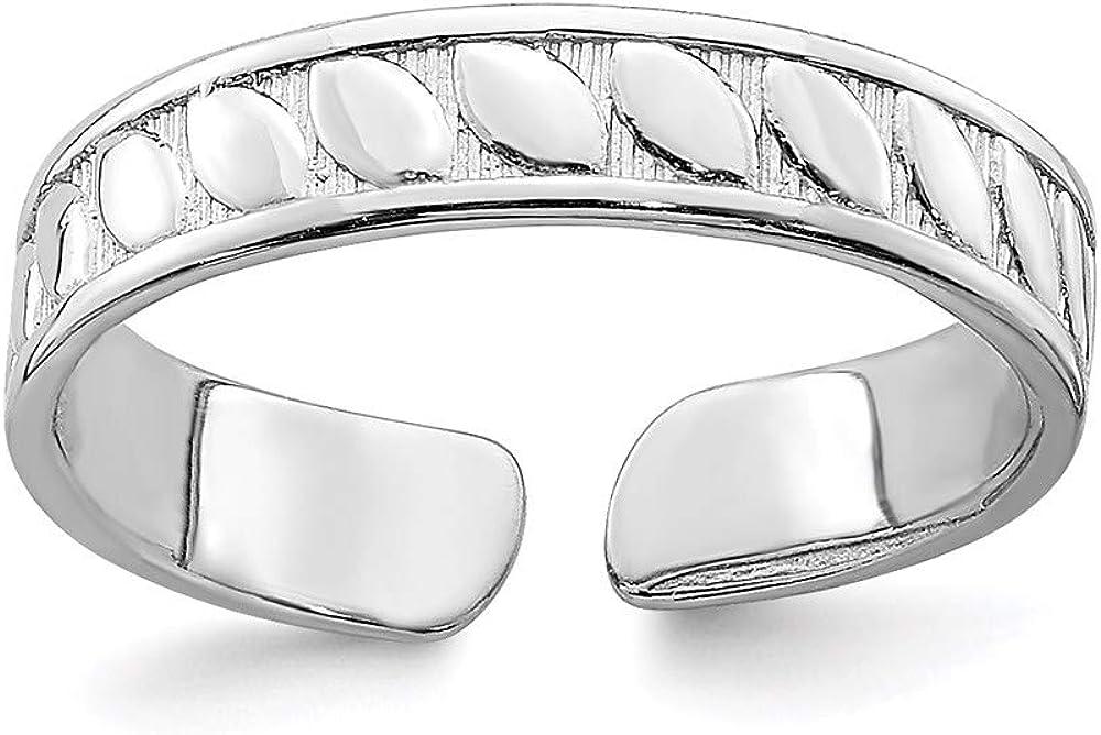 14k White Gold Adjustable Leaf Engraved Design Toe Ring