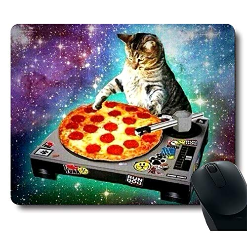Funy Cute Cat Like a DJ Pizza Galaxy Space Gaming Mouse Pad