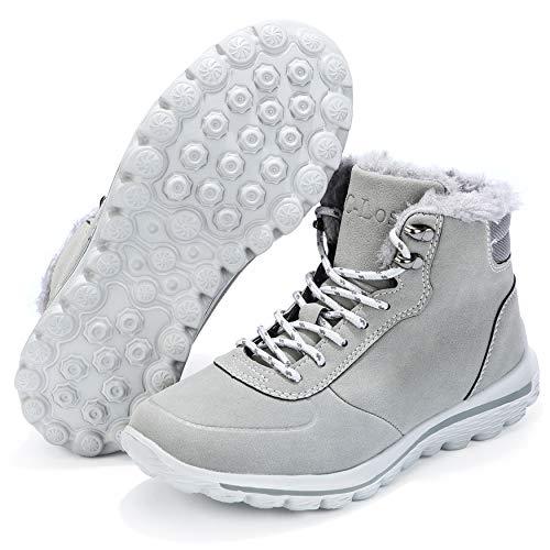 Botas de nieve para mujer, ultra ligeras, resistentes al agua, botas de senderismo, para invierno, antideslizantes, cálidas, forradas, de piel, tela Oxford, gris, 6.5 US