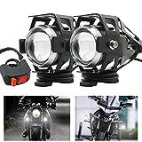 Faretti LED Moto,U5 12V 24V Fari Moto LED Faretto Anteriore fendinebbia Fari Supplementari per moto con Switch 125W 3000LM per Moto Auto Bici Camion Barca (Bianca)