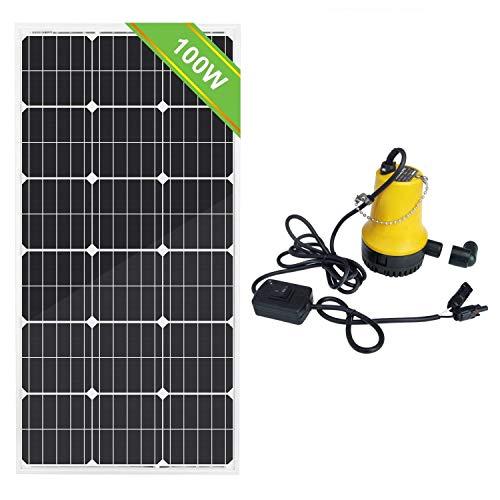 DC HOUSE - Kit de Bomba de Agua Solar (100 W, 18 V, Panel Solar monocristalino + Bomba Sumergible de 50 W, 12 V)