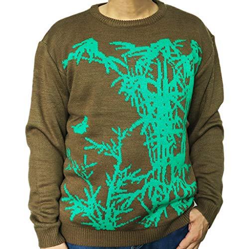 Patrón De Los Hombres Suéter De Navidad Suéter De Cuello Redondo Larga Floja De La Hoja De Bambú Moda De Manga Suéter De Punto Caliente del Jersey con Capucha Informal,XL