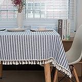 meioro Manteles Rectangular Mantel Antimanchas Mantel para Mesa de Lino Striped Tassel Tablecloth La decoración del hogar es Adecuada para Interiores y Exteriores (Rayas Azules / Blancas, 120×160cm)
