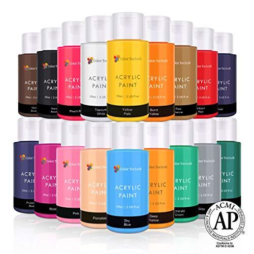 Acrylic Paint Set By Color Technik, Artist Quality, Colour Range 2, 18x59ml (2-Ounce) Bottles, Best Colours For Painting Canvas, Wood, Clay & Ceramic, Rich Pigments