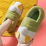 B/H Zapatillas de casa de algodón orgánico,Preciosas Pantuflas de Felpa para el hogar,cálidas y cómodas Pantuflas de algodón-Green_36-37,Pantuflas Ultraligero cómodo y Antideslizante