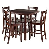 Winsome Wood Orlando 5 Piece Set High Table, 2 Shelves with 4 V-Back Counter Stools