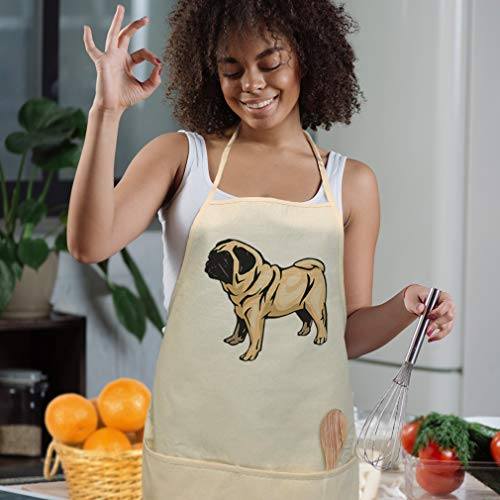Style In Print Cotton Twill Aprons for Women & Men Pug Pets Housewarming Gifts White Personalized Text Here