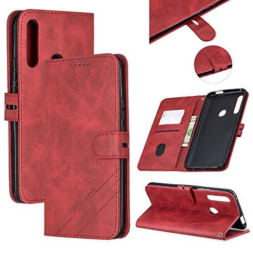 HICYCT Funda Huawei P Smart Z / Y9 Prime 2019,Elegante PU cubierta de la cartera de cuero Carcasa Flip Cover Case para Huawei P Smart Z Caso Caja con Cierre Magnético y Función de Suporte,Rojo