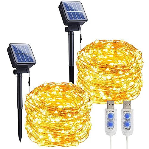 Solar Fairy Lights 2 Pack 33Ft 100LED Solar String Lights Outdoor with 8 Lighting Modes Solar Powered Waterproof Garden Lights Decoration Copper Wire Lights for Patio Christmas Camping (Warm White)