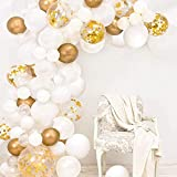 120pcs White Gold Balloon Garland Arch Kit - Different Size 5' 10' 12' White Gold Confetti Balloons Set for Birthday Baby Shower Wedding Engagement Party Valentine's Day Decorations