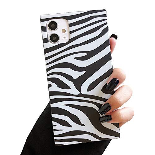 ZTOFERA Carcasa cuadrada para iPhone 11 Pro Max, diseño de cebra suave TPU con estampado de silicona ultra delgada para iPhone 11 Pro Max (6,5 pulgadas), color blanco