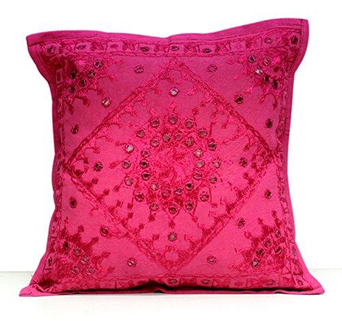Kissenbezug im indischen Ethno-Look, Boho-Style, mit Spiegel-Pailetten Traditionell rose