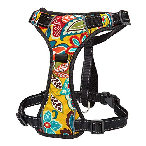 VGDWUJBNK No Pull Nylon Dog Harness Vest Reflective K9 Dog Harness Adjustable Printed Pet Puppy Harnesses for Small Medium Large Dogs Yellow M
