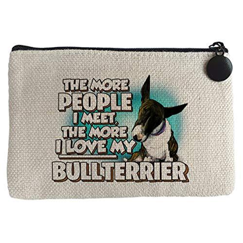 Diver Bebé Monedero I love my Bullterrier Atigrado raza perro - Beige, 15 x 10 cm