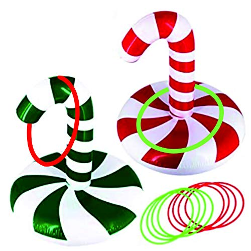 christmas games ring toss game inflatable candy can (2 Park Christmas Candy Cane 2 Hats & 8 Rings &1 Gift Bag)