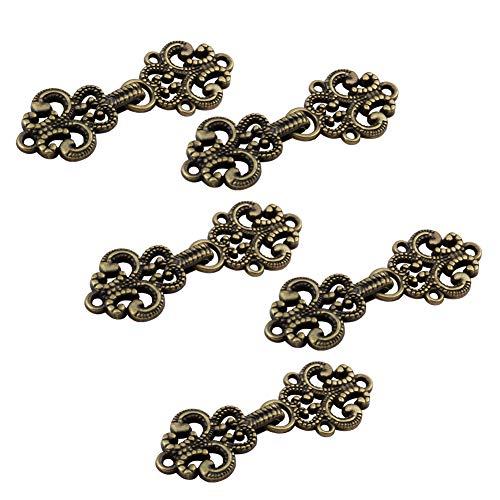 WANDIC Clips para cárdigan (5 Pares), diseño Vintage de Flores Huecas, para Coser y Ojos, para suéter, Chal, Antiguo