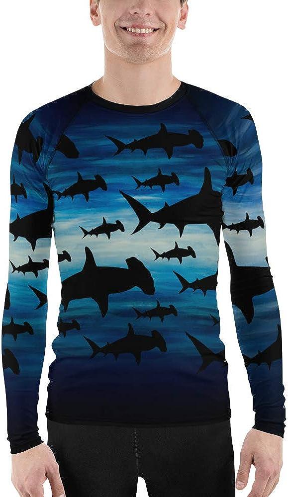 CAVIS Shark Pattern Hammerhead Men's Rash Guard, Sea Life Dive Skin Swim Shirt